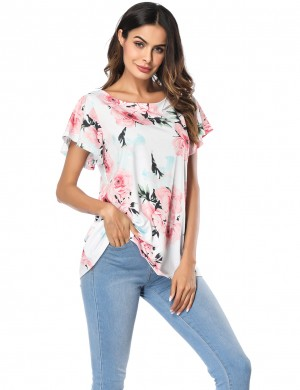 White Short Sleeve Floral Print Tops Round Collar At Great Prices‎