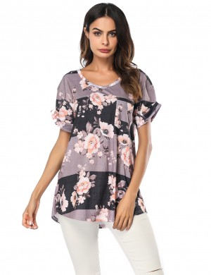 Classical Dark Grey Floral Pattern Blouses V Collar Chic Online