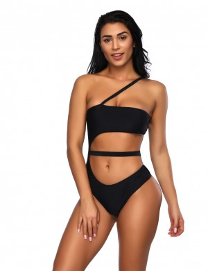 Happy Girl Black Hollow Out Bandeau One Piece Bathing Suit