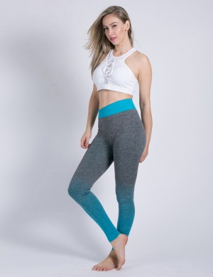 Sky Blue Butt Lifting Yoga Tights Gradients Medium Support
