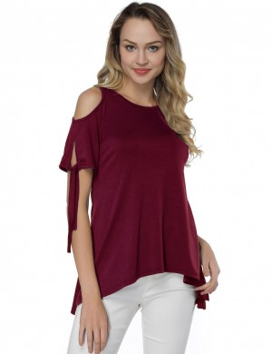 Exotic Wine Red Pleated Short-Sleeve Shirts Round Collar
