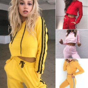 Red Drawstring Straps Sweat Suits Full Length Lady Fashion