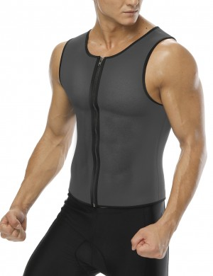 Grey Plus Neoprene Zipper Tank Shapewear Mens Instant Slimmer