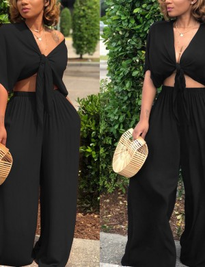 Magical Black 2 piece Loose Pants Latest Trends Deep V-Neckline