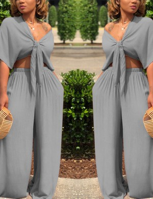 Gorgeously Front Knot Two-piece Pants Grey Short Sleeves Delightful