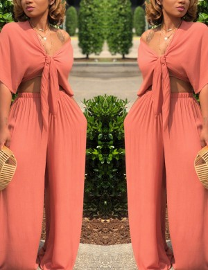 Performance Two-piece Deep V Neckline Pants Orange Hot Selling Online