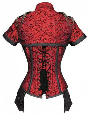 Red High Neck Steel Boned Overbust Corset Cord Lacing Curver Slimmer