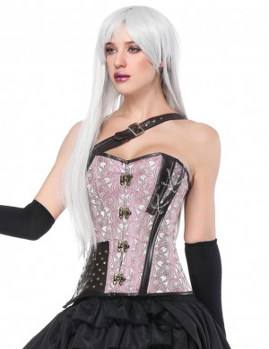 Bodycon Light Pink 14 Plastic Boned Overbust Corset Studs Forward Women