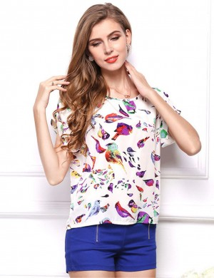 Pleasant Bird Print Bat Sleeves Shirt Fashion Clothing Online