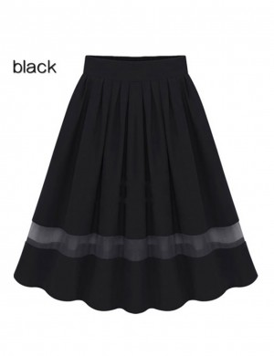 Contouring Sensation Black Perspective Mesh Chiffon Pleated Skirt Online Shopping