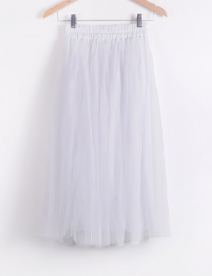 Brightly White Solid Color Pleated Tutu Skirt For Vacation