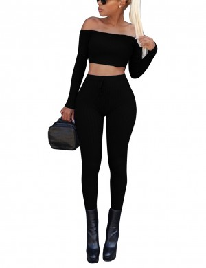 Picturesque Black Screw Thread Crop Top With Ankle Length Pants Loose