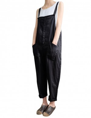 Fascinating Black Queen Size Strap Jumpsuit With Pockets Luscious Curvy