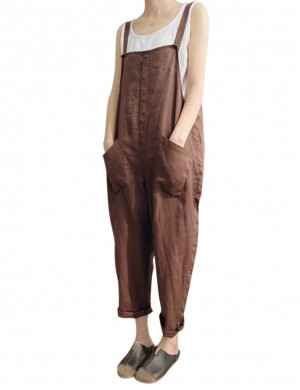 Effective Brown Button Front Strap Jumpsuit Plus Size Sale Online
