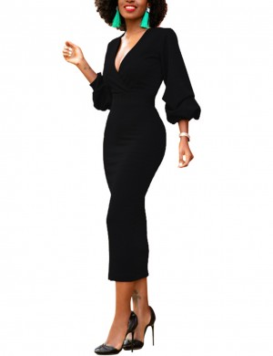 Eye Catch Black Fitted Cuff Puff Sleeve Close Dress High Waist