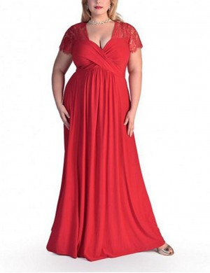 Feminine Red Plus Size Long Formal Dresses Lace Sleeves
