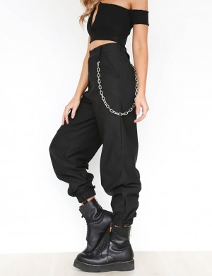 Illusion Chain Harem Pants High Rise Womens Latest Clothes