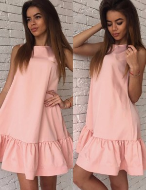 Absorbing Pink Crew Neck Plus Size Short Dress No Sleeves Charming Fashion