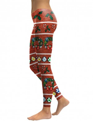 Nautically Christmas Element Printed Full Leggings For Outdoor