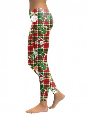 Scintillating Christmas Element Pattern Long Leggings Preventing Sweat