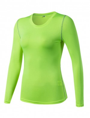 Splendor Green Tight Long Sleeve Sports Top Quick Dry Workout Activewear
