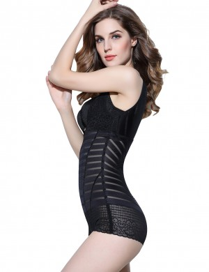 Traditional Black Striped Bodysuit Eye Hook Closure Lace Secret Slimming