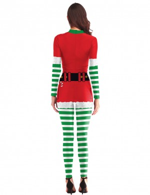 Sensual Curves Digital Printing Christmas Cosplay Jumpsuit Stripes