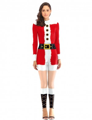 Sophisticated Santa Claus Costumes Jumpsuit Back Zippers Fashion Design