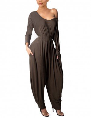 Dramatic Brown Cut Out Waist Pleated Jumpsuit Knickerbockers At Great Prices‎