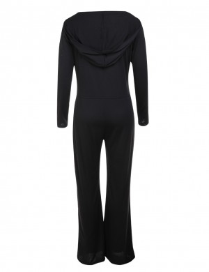 Captivating Black Deep V Neck Jumpsuit Full Length Pockets Nice Quality