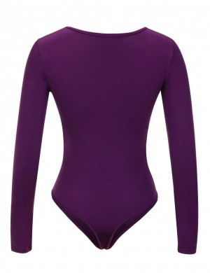 Intriguing Purple Front Zipper Bodysuit Long Sleeved Large Size Quick Drying