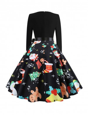 Glittering Stitching Skater Dress Xmas Printing Bow Home Dress