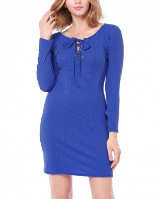 Flirtatious Blue Round Neck Bodycon Dress Mini Length Honeymoon
