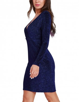 Fascinating Blue Wrapped Bodycon Dress Long Sleeves Luscious Curvy