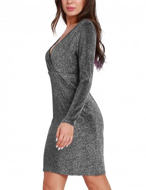 Eye Catch Silver Bling Bling V Neck Dress Wrap Feminine Fashion Trend