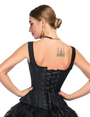 Sophisticated Black Lace Up Overbust Corset 14 Plastic Bones Bodycon