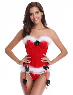 Authentic Red 12 Plastic Bones Santa Bustier With Thong Top Comfort