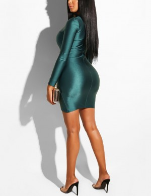 Loose Fit Green Slim Waist Bodycon Dress Slit Hemline Outdoor