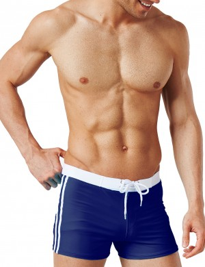 Fascinating Navy Blue Drawstring Swimming Men Underwear Stripe