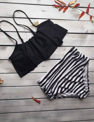 Dreamlike Black Stripe 2 Pieces Swimwear High Rise Girls Fashion