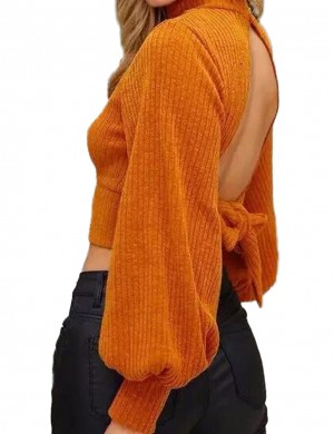 Exotic Orange High Collar Sweater Knot Backless Full Sleeves Ladies