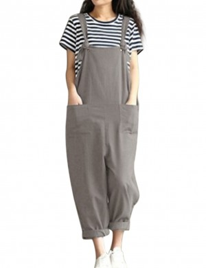 Marvellous Grey Large Size Plain Jumpsuit Double Pockets Comfort