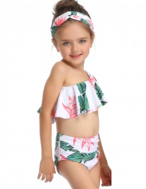 Sassy Green Ruched Waist Family Swimwear Single Shoulder Beach Time