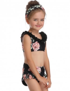 Particularly Black Floral Pattern Parent Child Swimwear Lady