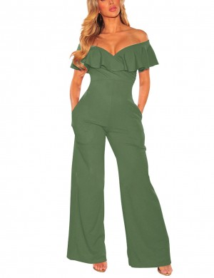 Inviting Army Green Wide Legged Rompers Bare Shoulder Glamor Women