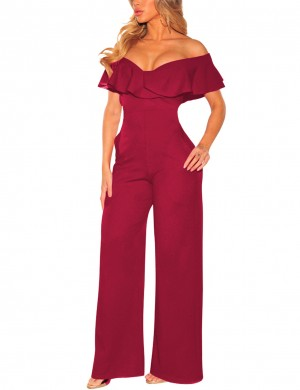 Charming Wine Red Bare Shoulders V Neck Rompers Flounce Soft