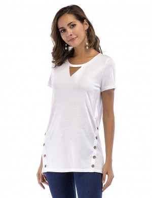 Fresh White Side Buttons T-Shirt Crew Collar All-Match