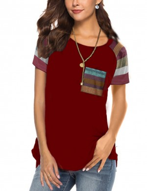 Effective Wine Red Stitching Tops Round Neckline Stripe Online