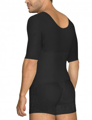 Smooth Silhouette Black Short Sleeved Men Hooks Body Shapewear Large Size Chic Online