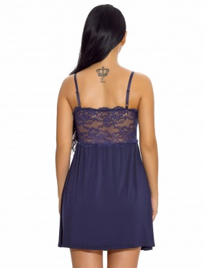 Inviting Navy Blue Lace Patchwork Chemise Lingerie Bowknot Comfort